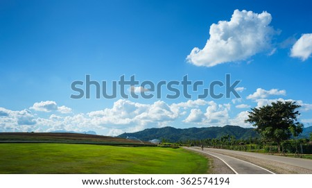 Road on hill for biking activity, relax with the nature in good landscape view