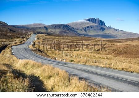 Road on Isle of Skye, Scotland, UK,  - stock photo
