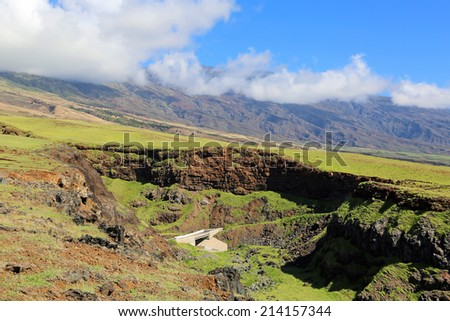 Road on south cliffs, Maui, Hawaii - stock photo