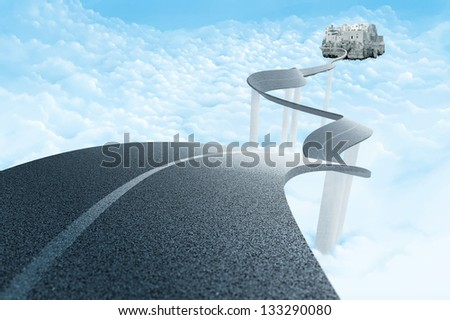 Road over the clouds to suspended town - stock photo
