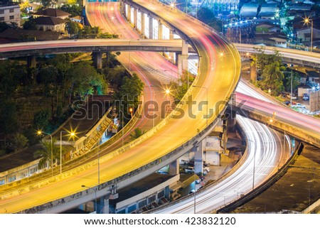 road overpass highway at night - stock photo