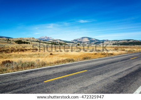 Road passing through Yellowstone National Park