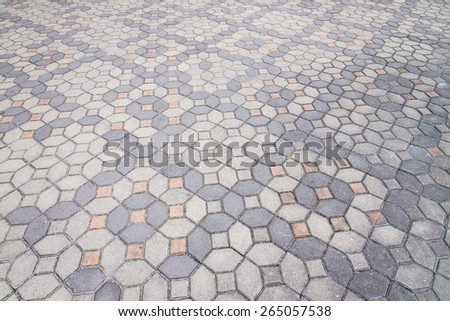 road paved with the cobble stones - stock photo