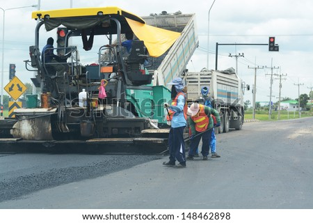 Road paving construction  - stock photo