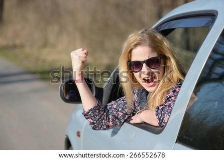 Road rage - stock photo
