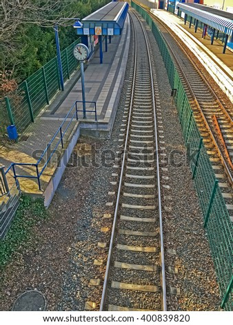 road rails, railway station - stock photo