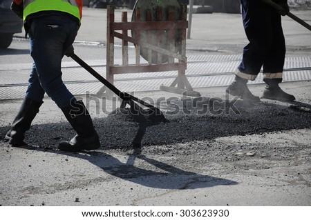 road repairs - stock photo
