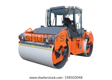 road roller under the white background - stock photo