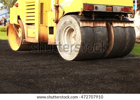Road rollers during asphalt compaction works.