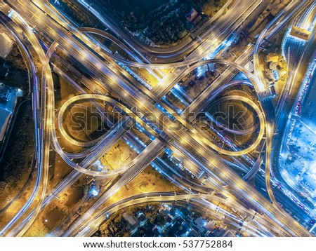 Road roundabout large Aerial The road beautiful , Bird Eye View in bangkok , top view , Bangkok , Thailand .