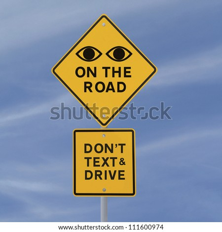 Road safety sign (against a blue sky background) - stock photo