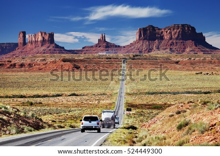 Road 163, scenic byway approaching to the Monument Valley, Arizona, USA