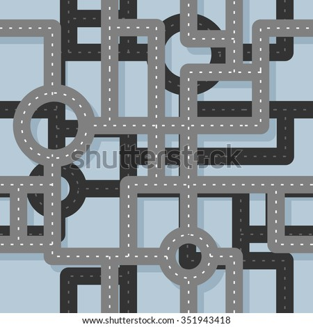 Road seamless pattern. Map Highway background. Endless road highway. Road junction on several levels. Traffic on junction in city