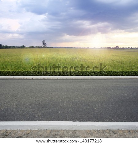 Road side county view  background - stock photo