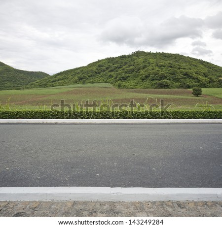 Road side mountain view  background