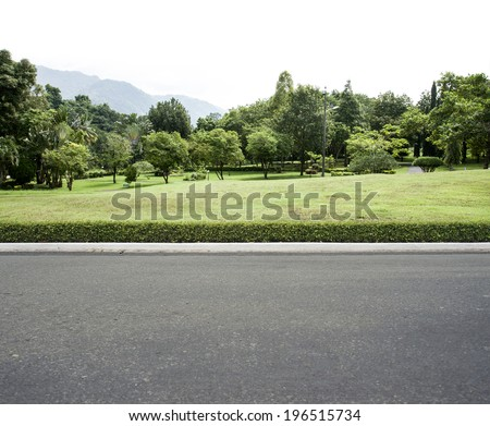 Road side view garden background - stock photo