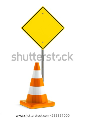 Road sign and orange traffic cone on a white table represents work in progress, three-dimensional rendering - stock photo