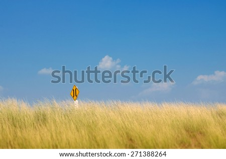 Road sign and reed in high wind on highway - stock photo