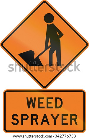 Road sign assembly in New Zealand - Weed sprayer.