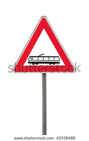 Road sign caution railway isolated on white background