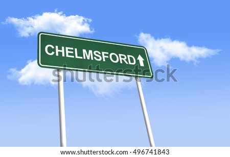 Road sign - Chelmsford. Green road sign (signpost) on blue sky background. (3D-Illustration)