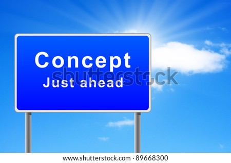 Road sign concept just ahead. - stock photo