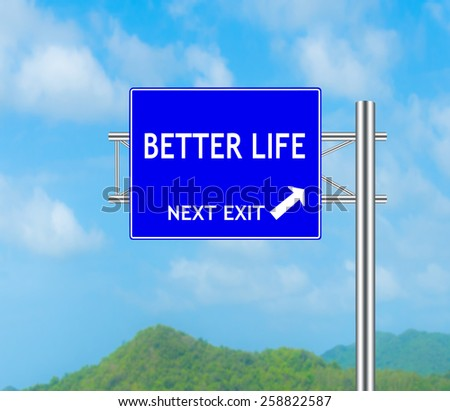 Road Sign concept to BETTER LIFE and Sky background.