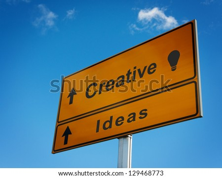 Road sign creative ideas with icon lightbulb.