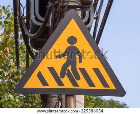road sign - crosswalk. - stock photo