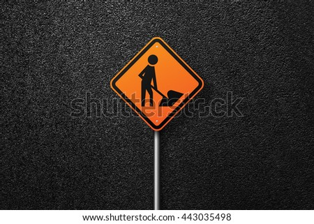 Road sign diamond shape with a picture of a worker on a background of asphalt. The texture of the tarmac, top view. - stock photo