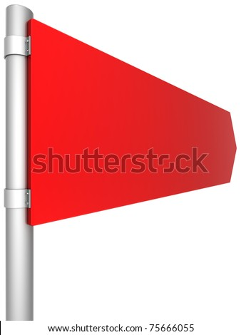 Road sign directional blank colored red. This is a detailed 3D render. Isolated on white background
