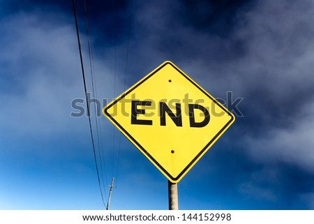Road Sign Displaying End - stock photo
