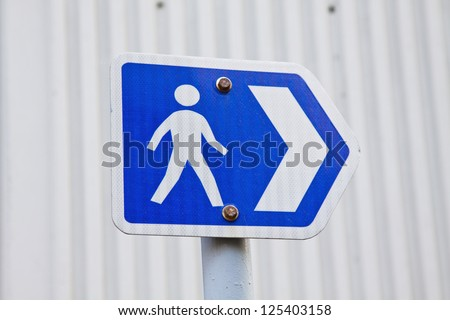 Road sign for pedestrian - stock photo