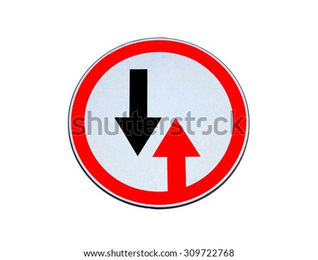 """Road sign """"Give priority to vehicles from opposite direction"""" isolated on white background - stock photo"""