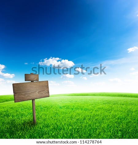 Road sign in green grass field over blue sky background - stock photo
