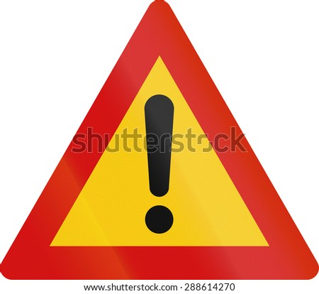 Road sign in Iceland - Other danger - stock photo
