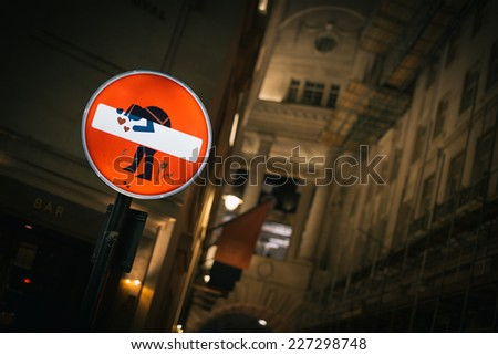 Road sign in night - stock photo