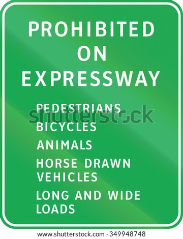 Road sign in the Philippines - Prohibited on Expressway.