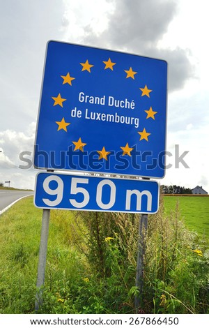 Road sign indicating approaching the border of Grand Duchy of Luxembourg a European Union country - stock photo