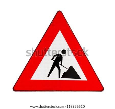 Road sign indicating road works ahead, isolated on white background - stock photo