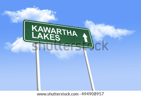 Road sign - Kawartha Lakes. Green road sign (signpost) on blue sky background. (3D-Illustration)