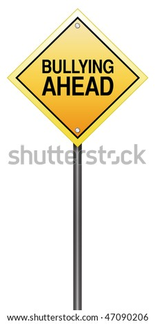 "Road Sign Metaphor with ""Bullying Ahead"" - stock photo"