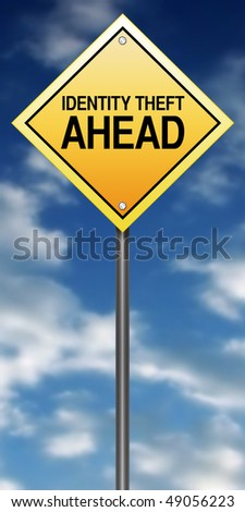 "Road Sign Metaphor with ""Identity Theft Ahead"" - stock photo"