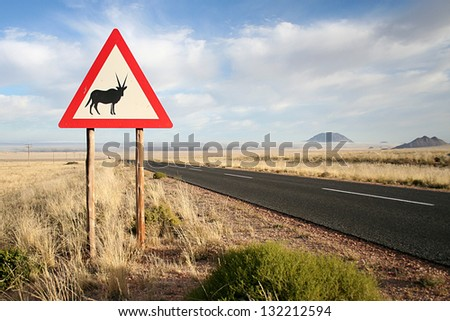 road sign of an orxy in namibia - stock photo