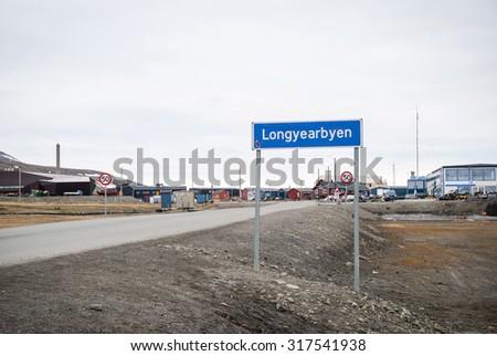 Road sign of Longyearbyen city, Svalbard, Norway - stock photo