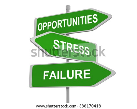 Road sign of text failure stress and opportunity, 3d illustration - stock photo