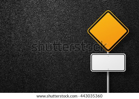 Road sign of the diamond shape. Behind the sign one can see a smooth asphalt road. Blank road signs. The texture of the tarmac, top view. - stock photo