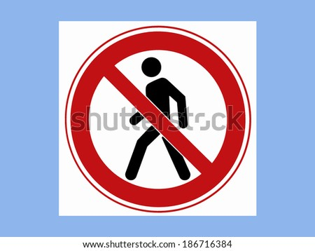 Road sign on the blue color background - stock photo