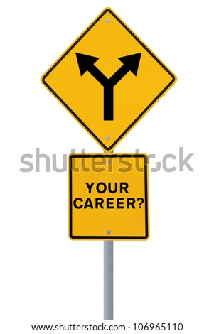 Road sign on the need for a career direction or decision (isolated on white)