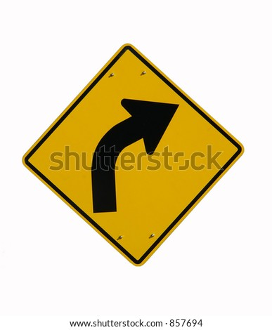 Road sign on white background. - stock photo